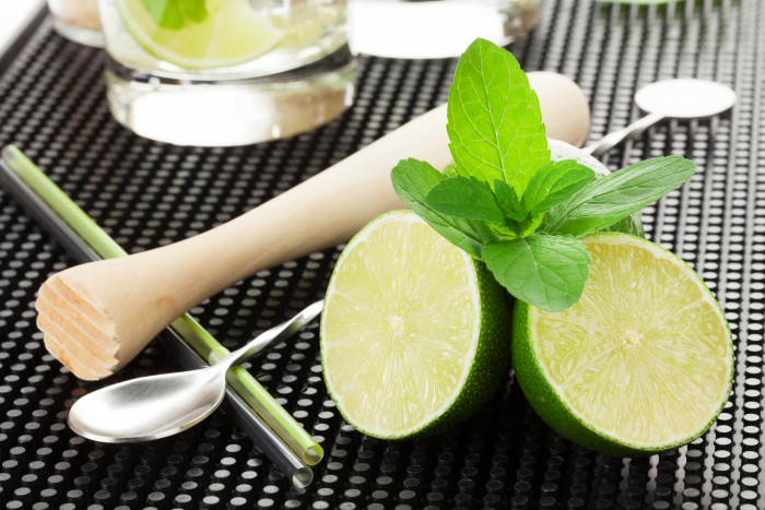 must have bar tools shown with Mojito cocktail and ingredients