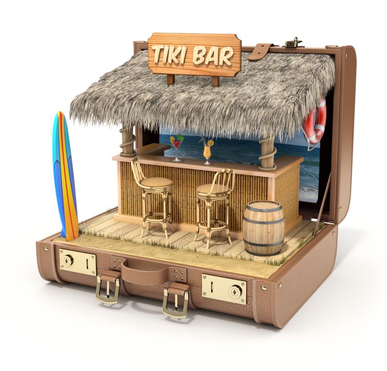 Tiki bar in an open suitcase